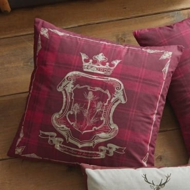 Tatton Patchwork Square Cushion in Red