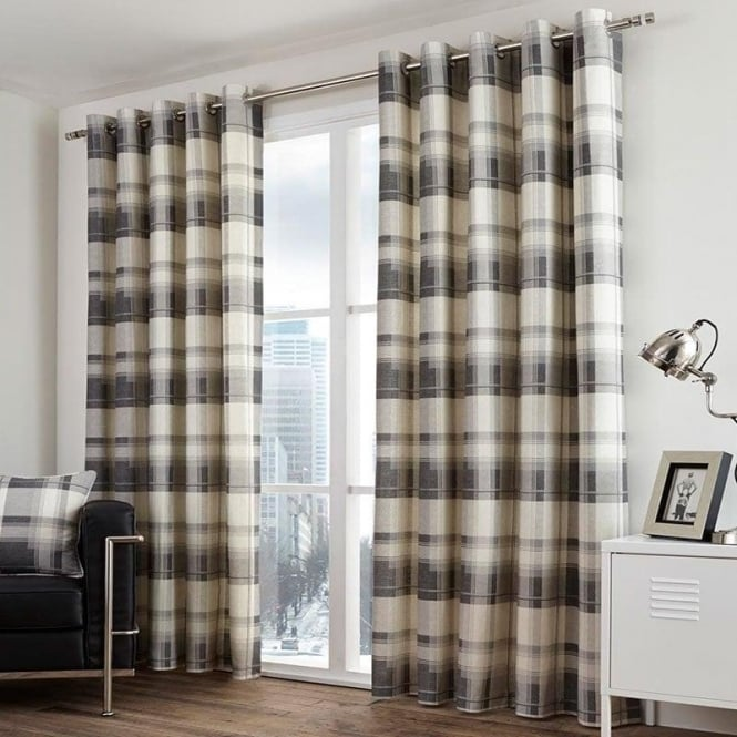 Check Eyelet Curtains In Grey Fusion