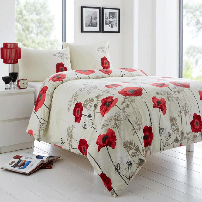 Fusion Chara Poppy Duvet Set In Red