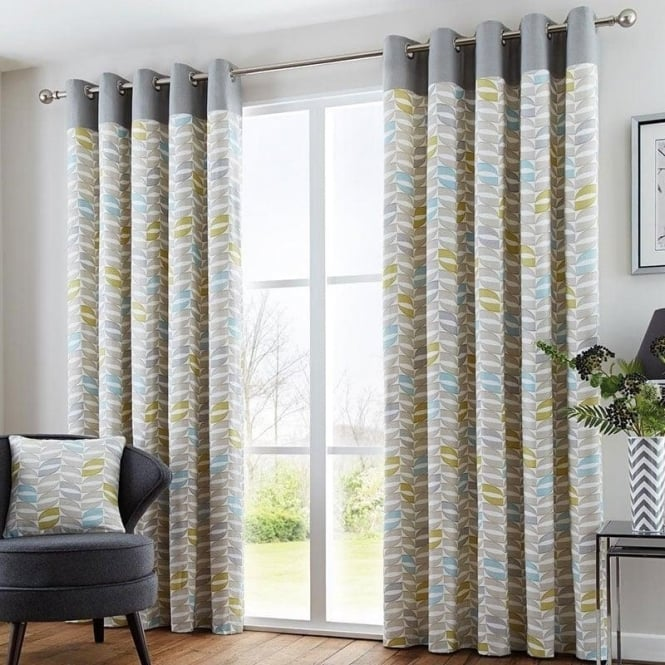 Fusion Copeland Eyelet Curtains In Duck Egg Blue