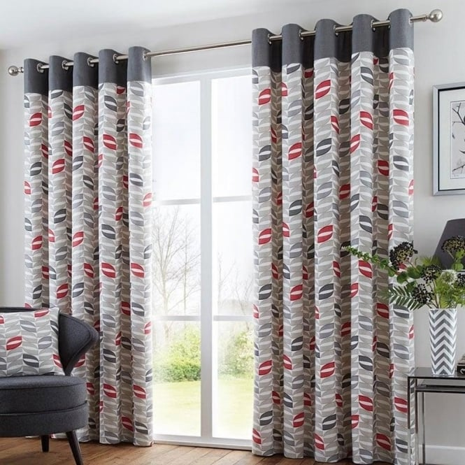 Copeland Eyelet Curtains In Red