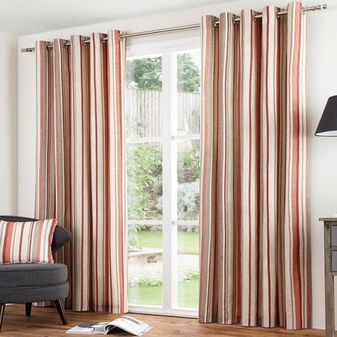 Melrose Striped Eyelet Curtains In Terracotta