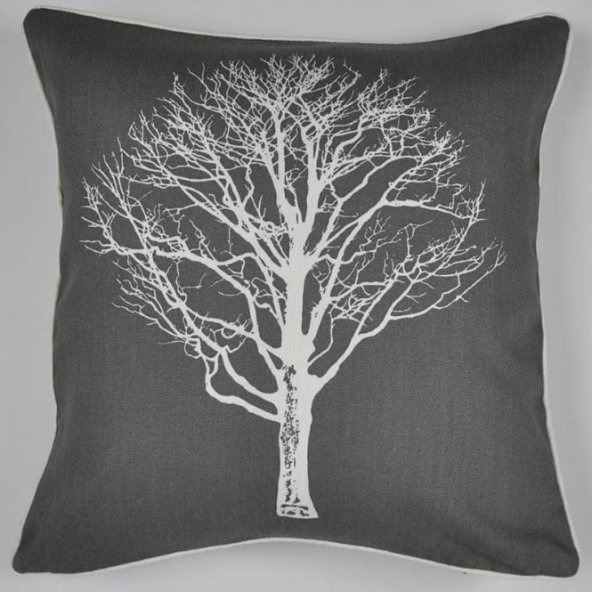 Fusion Woodland Trees Cushion in Charcoal Grey