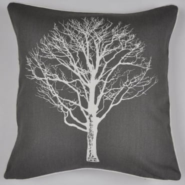 Woodland Trees Cushion in Charcoal Grey