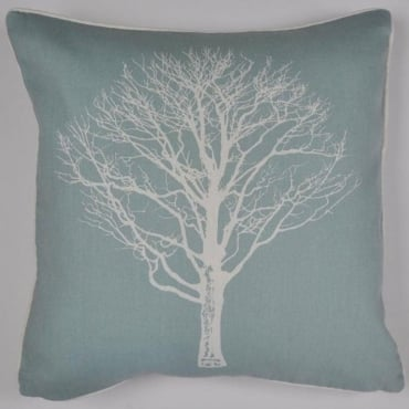 Woodland Trees Cushion in Duck Egg Blue