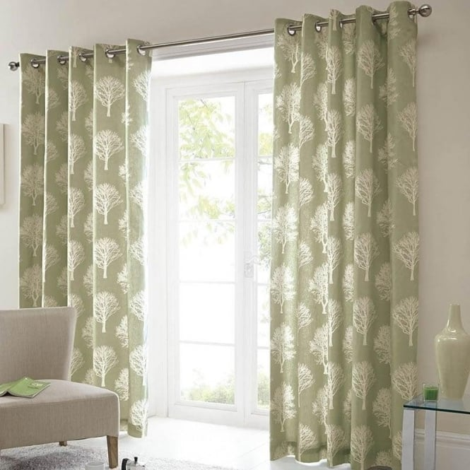 Woodland Trees Eyelet Curtains In Green