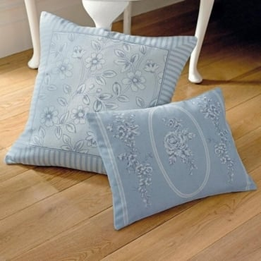 Malton Floral and Stripe Cushion in Blue