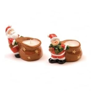Ceramic Santa & Snowman Candle Holders