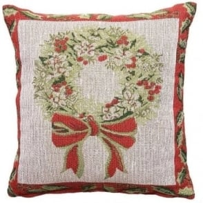 Christmas Holly Wreath Cushion Cover
