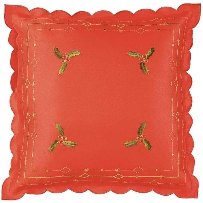 Seaquin Holly Cushion Cover in Red