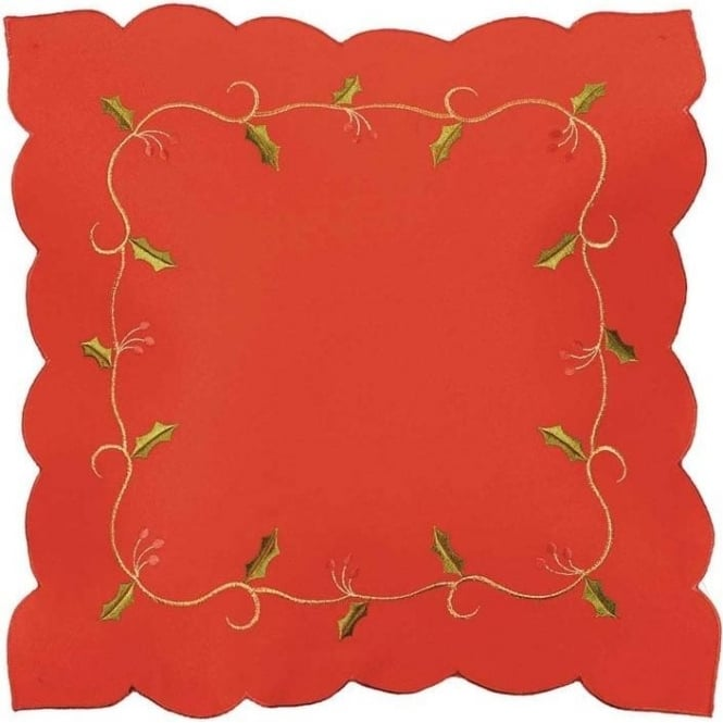 Seaquin Holly Vine Cushion Cover in Red