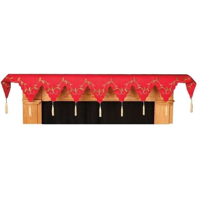 Seaquin Holly Vine Mantel Runner in Red