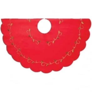 Holly Vine Tree Skirt in Red