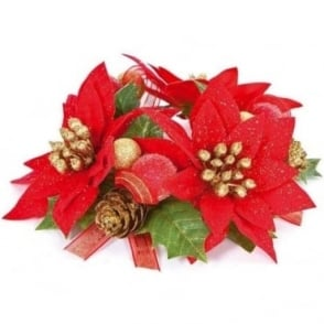 Poinsettia Candle Ring Pair