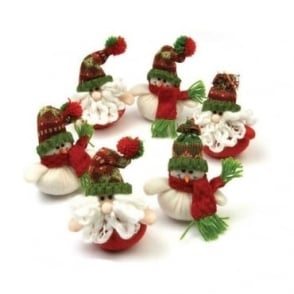 Santa & Snowman Decorations - Tray of 12