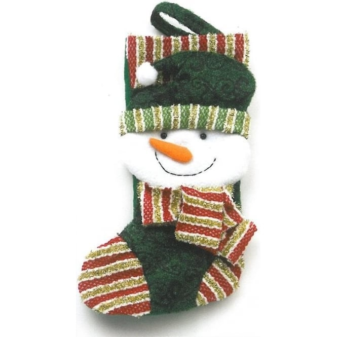Seaquin Snowman Christmas Stocking in Green