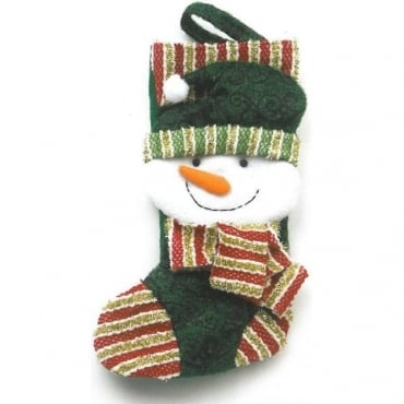 Snowman Christmas Stocking in Green