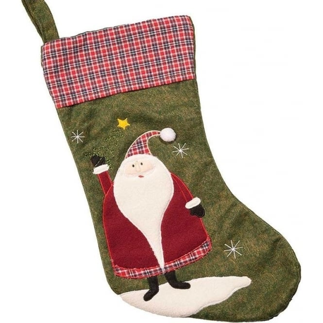 Seaquin Tartan Top Santa Christmas Stocking
