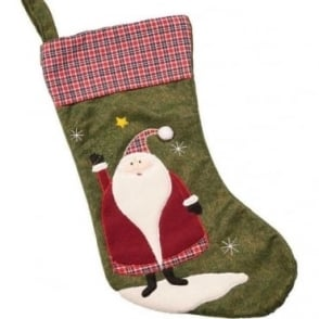 Tartan Top Santa Christmas Stocking