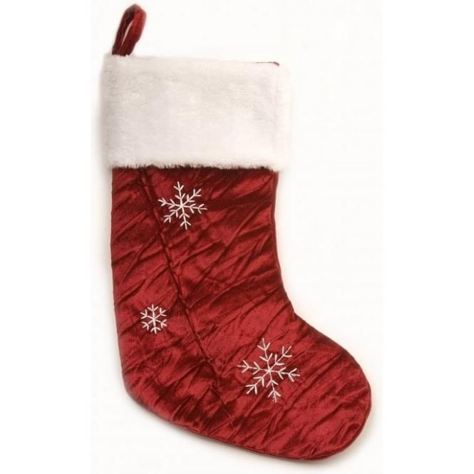 Seaquin Velvet Christmas Stocking in Red